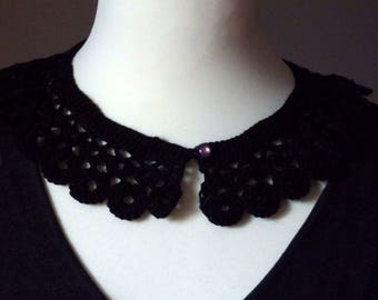 Black Crochet Retro Collar, thin acrylic yarn