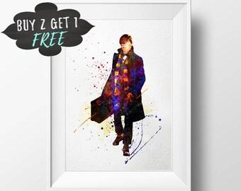 Harry Potter Printable Poster, Fantastic Beasts Art, Newt Scamander Print Poster, Wall Art Printable, Downloadable Print, Apartment Decor