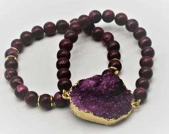Druzy Beaded Bracelet- 2 Options(Wine or Black)
