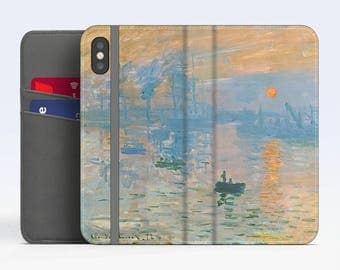"Claude Monet, ""Impression Sunrise"". iPhone 8 Wallet case, iPhone 7 Wallet case  iPhone 6 Plus Wallet case. Samsung Wallet cases."