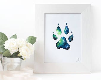 Wolf Footprint Watercolor Painting Fine Art Print