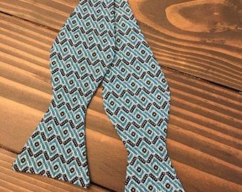 Turquoise Geometric Bow Tie -Mens Bow Tie - Self Tie