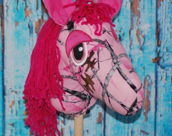 Pink Camo Ride on Stick Pony hobby horse ride on toys for kids