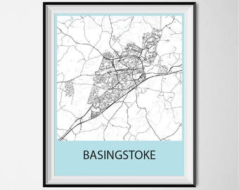 Basingstoke Map Poster Print - Black and White