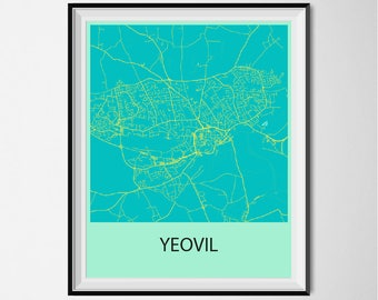 Yeovil Map Poster Print - Blue and Yellow