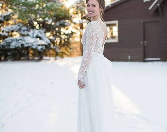Yours and Mine Spring 2018: Bridal Gown, Wedding Gown, Ivory Lace, Long Sleeve, Chiffon Skirt, USA