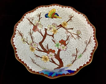 Antique Chinese Brass Cloisonné Brush Wash Floral Bowl with Butterflies