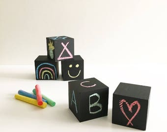 Chalkable/Wipeable Solid Pine Wooden Blocks/Cubes