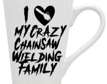 Chainsaw Family Crazy Love Horror Mug Coffee Cup Halloween Gift Home Decor Kitchen Bar Gift for Her Him Any Color Personalized Custom