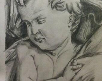 Drawing of a cherub