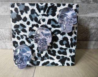 decoupage box, trinket box, skull trinket box, skull jewellery box, decoupage trinket box, leopard spots box, Gem box, leopard decoupage