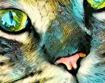 Cat Art, kids room decor, cat print, pet lover gift, cat wall art, kids room art, cat home decor, cat lover gift, whimsical cat art, pet art