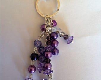 Purple beaded key ring/bag charm key chain key fob bag charm handbag charm