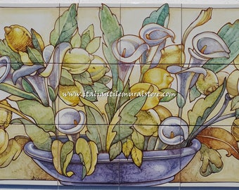 Vintage still life  artistic wall panel on ceramic tile mural hand painted. Made in Italy