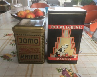 Vintage coffee cans set of two containers for coffee storage cans