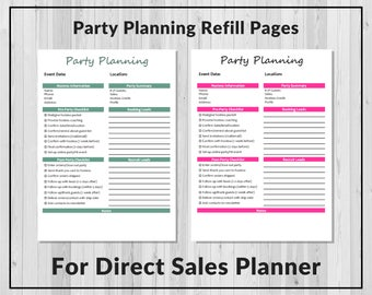 Party Planning Refill Pages for the Live Lead Succeed Direct Sales Planner
