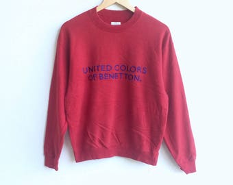 Rare! Vintage 90's UNITED COLORS of BENETTON red colour medium size