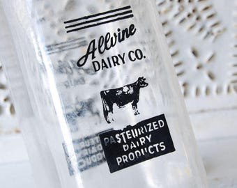Vintage Allvine Dairy Co. Glass Milk Bottl - Black and white Cow - Glass Vase