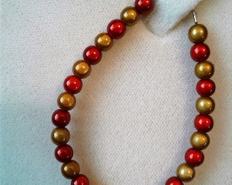 Red and Gold Neon Beaded Bracelet