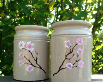 Painted Flowers Ceramic Pots