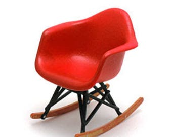 Miniature Red Designer Rocking Chair 1:12 Scale