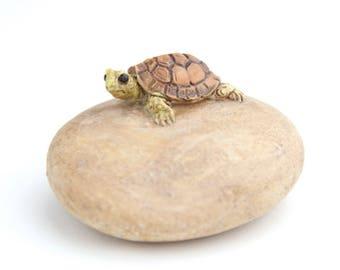 Fairy Garden/Dollhouse Miniature Turtle on a Rock