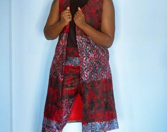 Red and silver kimono set