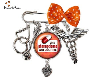 Pin a pharmacist who tear gift silver glass cabochon