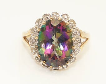 Stunning 9ct Gold 5.8 Ct Mystic Topaz & Diamond Cluster Dress Ring, Size O