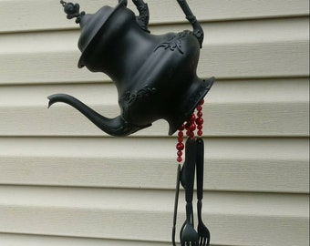 Painted black silverplate teapot windchime, silverware windchime - black and red