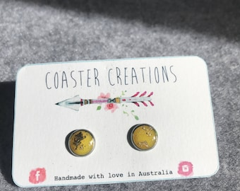 Yellow and gold foil resin studs