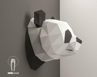 Panda Pepercraft Head, Papercraft Trophy, Pdf Kit, 3D DIY Panda Head, DIY Paper Sculpture, 3D Puzzle DIY, Digital Download, Panda Trophy Art