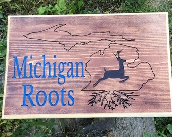 MICHIGAN ROOTS ENGRAVED Wall Art Decor