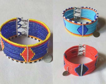 African Maasai beaded cuff bracelet | Tribal bracelet | African jewelry |  fastening | Gift for Her | Gift for Him- african bracelet