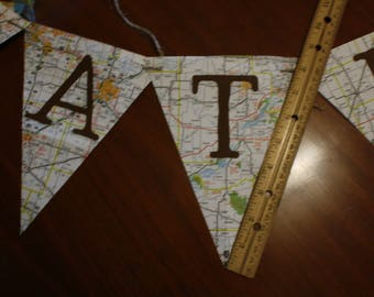 """Handmade Pennant Banner """"Congratulations"""" and """"Cards"""" Banner made from vintage maps"""