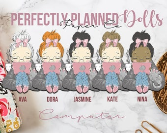 004 | Computer | Planner Dolls // Character Planner Stickers
