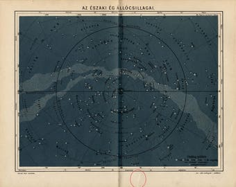 Antique map of fixed stars of the northern sky from 1893