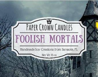Foolish Mortals Candle - Paper Crown Candles - Disney Candles