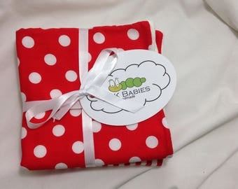 2 Pack Red Polka Dot and Stripes Baby Washcloths