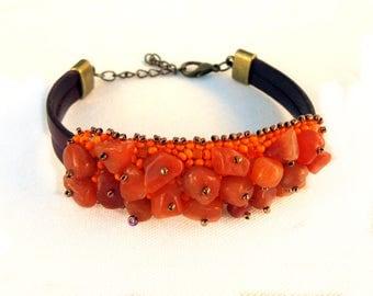 Sacral chakra bracelet Svadhisthana, carnelian bracelet, bead embroidery bracelet, casual bracelet, healing bracelet