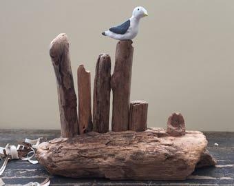 Driftwood Groyne with Seagull