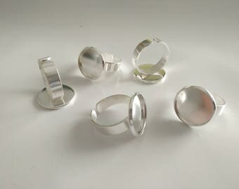 16mm 5pcs Bright Silver Plated Brass Adjustable Ring Settings Blank/Base,Fit 16mm Glass Cabochons,Buttons;Ring Bezels