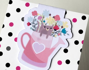 Magnetic Bookmark. Cat in watering can Magnetic Bookmark. For books, planners and notebooks.