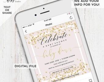 Custom Digital Baby Shower Invitation, Digital Save The Date E Card, Evite  Invitation