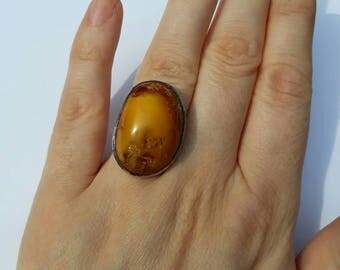 butterscotch amber silver antique art deco vintage ring egg yolk baltic amber sterling modernist irregular cabochon shape size UK O US 7