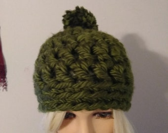 Crochet Green Chunky Beanie
