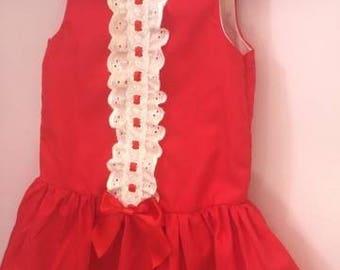 girls spanish dress, drop waist dress, girls red dresses, spanish baby clothes, girls dresses, birthday dress, toddler dress, baby dress