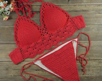 Crocheted swim suit