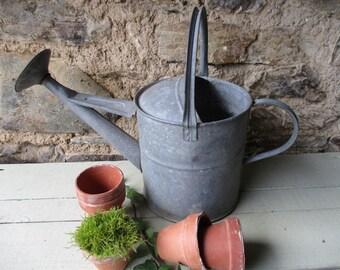 Vintage watering can.Vintage gardening.Garden antiques.Zinc watering can.One gallon watering can.Jardin antiques.Secret chateau.Garden chic.
