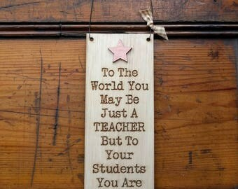 Large Wooden Teacher Sign With Copper Star
